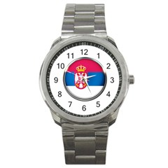 Serbia Flag Icon Europe National Sport Metal Watch