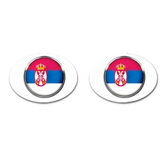 Serbia Flag Icon Europe National Cufflinks (oval)