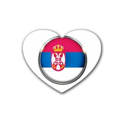 Serbia Flag Icon Europe National Heart Coaster (4 Pack)