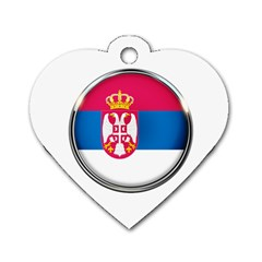 Serbia Flag Icon Europe National Dog Tag Heart (one Side)
