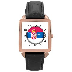 Serbia Flag Icon Europe National Rose Gold Leather Watch