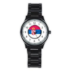 Serbia Flag Icon Europe National Stainless Steel Round Watch