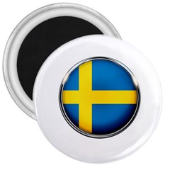 Sweden Flag Country Countries 3  Magnets by Nexatart