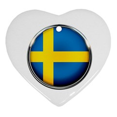 Sweden Flag Country Countries Ornament (heart)