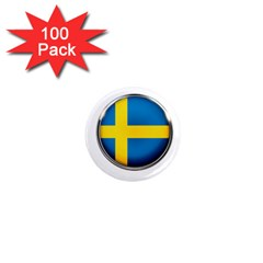 Sweden Flag Country Countries 1  Mini Magnets (100 Pack)