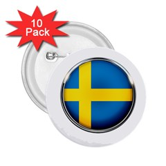 Sweden Flag Country Countries 2 25  Buttons (10 Pack)  by Nexatart
