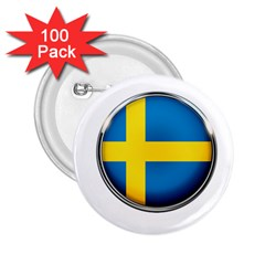 Sweden Flag Country Countries 2 25  Buttons (100 Pack)