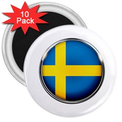 Sweden Flag Country Countries 3  Magnets (10 Pack)