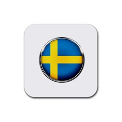 Sweden Flag Country Countries Rubber Square Coaster (4 Pack)