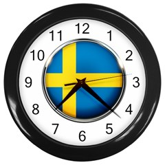 Sweden Flag Country Countries Wall Clocks (black)