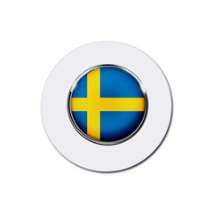 Sweden Flag Country Countries Rubber Coaster (round)