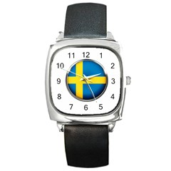 Sweden Flag Country Countries Square Metal Watch