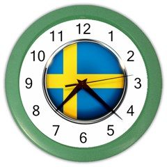 Sweden Flag Country Countries Color Wall Clocks