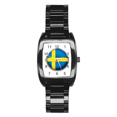 Sweden Flag Country Countries Stainless Steel Barrel Watch