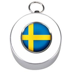 Sweden Flag Country Countries Silver Compasses