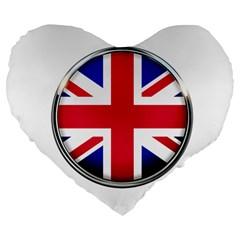United Kingdom Country Nation Flag Large 19  Premium Flano Heart Shape Cushions