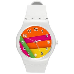 Background Abstract Round Plastic Sport Watch (m)