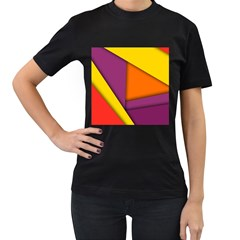 Background Abstract Women s T Shirt (black) (two Sided)