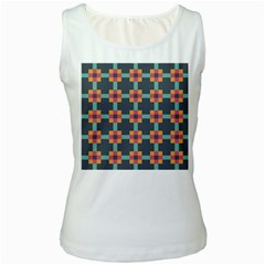Squares Geometric Abstract Background Women s White Tank Top