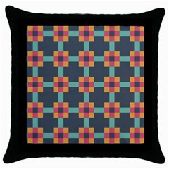Squares Geometric Abstract Background Throw Pillow Case (black)