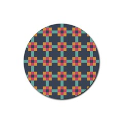 Squares Geometric Abstract Background Rubber Coaster (round)