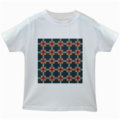 Squares Geometric Abstract Background Kids White T Shirts