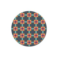 Squares Geometric Abstract Background Magnet 3  (round)
