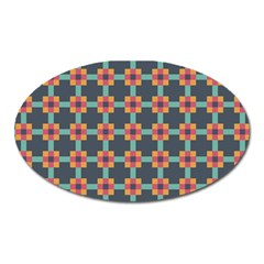 Squares Geometric Abstract Background Oval Magnet