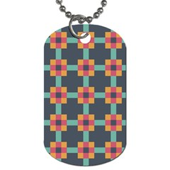 Squares Geometric Abstract Background Dog Tag (one Side) by Nexatart