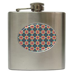 Squares Geometric Abstract Background Hip Flask (6 Oz)