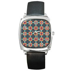 Squares Geometric Abstract Background Square Metal Watch