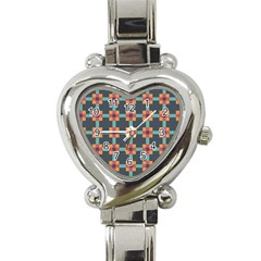 Squares Geometric Abstract Background Heart Italian Charm Watch