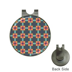 Squares Geometric Abstract Background Hat Clips With Golf Markers