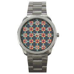 Squares Geometric Abstract Background Sport Metal Watch