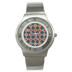 Squares Geometric Abstract Background Stainless Steel Watch