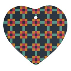 Squares Geometric Abstract Background Heart Ornament (two Sides)