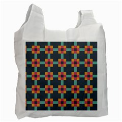 Squares Geometric Abstract Background Recycle Bag (two Side)