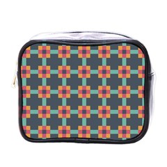 Squares Geometric Abstract Background Mini Toiletries Bags