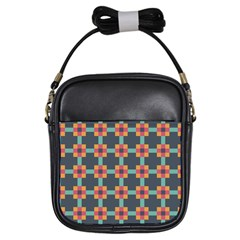 Squares Geometric Abstract Background Girls Sling Bags