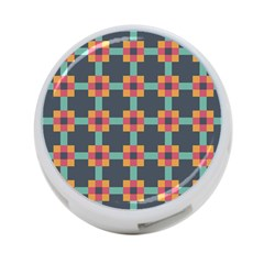 Squares Geometric Abstract Background 4 Port Usb Hub (one Side)