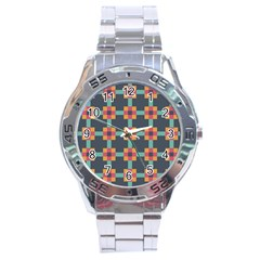 Squares Geometric Abstract Background Stainless Steel Analogue Watch