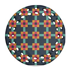 Squares Geometric Abstract Background Round Filigree Ornament (two Sides)