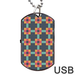 Squares Geometric Abstract Background Dog Tag Usb Flash (two Sides)