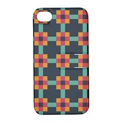 Squares Geometric Abstract Background Apple Iphone 4/4s Hardshell Case With Stand