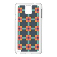Squares Geometric Abstract Background Samsung Galaxy Note 3 N9005 Case (white)
