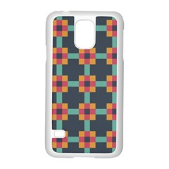 Squares Geometric Abstract Background Samsung Galaxy S5 Case (white)