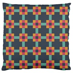 Squares Geometric Abstract Background Large Flano Cushion Case (one Side)
