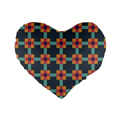 Squares Geometric Abstract Background Standard 16  Premium Flano Heart Shape Cushions