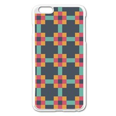 Squares Geometric Abstract Background Apple Iphone 6 Plus/6s Plus Enamel White Case
