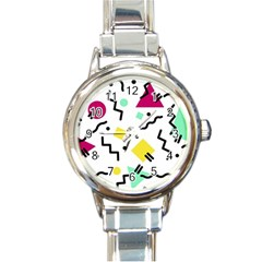 Art Background Abstract Unique Round Italian Charm Watch